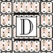 Pink Champagne Deco Monogram  D Art Print