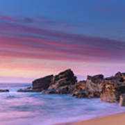Pink Clouds And Rocky Headland Seascape Art Print