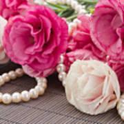 Pink Eustoma Flowers  Art Print