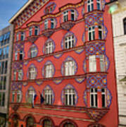 Pink Facade Of The Cooperative Business Bank Building Called Vur Art Print