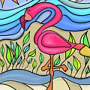 Pink Flamingo Glassy Art Print