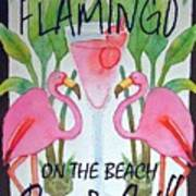 Pink Flamingos On The Beach Bar and Grill Art Print