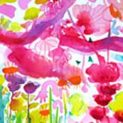 Pink Garden Tree Art Print