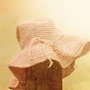 Pink Girls Hat On Farmyard Fence Post Art Print