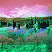 Pink Green Waterscape - Fantasy Artwork Art Print