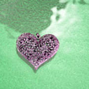 Pink Heart On Frosted Glass Art Print