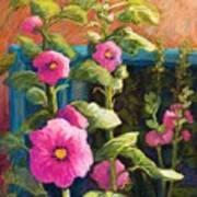 Pink Hollyhocks Art Print