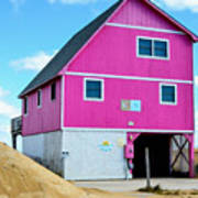 Pink House On The Beach 1 Art Print