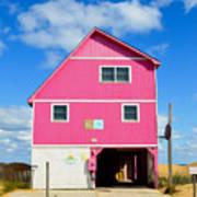 Pink House On The Beach 3 Art Print