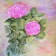 Pink Hydrangeas And Hostas Art Print