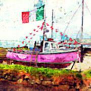 Pink Irish Boat Art Print