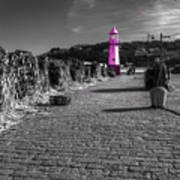 Pink Lighthouse Of St Ives Art Print