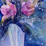 Pink Lilies In Vase Art Print