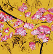 Pink Mimosa Tree Dark Yellow 201642 Art Print