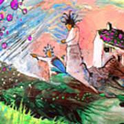 Pink Molecules Rain Art Print