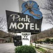 Pink Motel Sign Maggie Valley North Carolina Art Print
