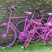 Pink Painted Bikes And Old Wall Art Print