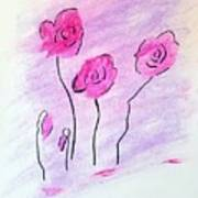 Pink Pastels Minimal Flowers Drawing By Scott D Van Osdol