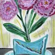 Pink Peonies-gray Table Art Print
