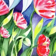Pink Poppies Batik Style Art Print