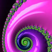 Pink Purple And Green Fractal Spiral Art Print
