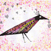 Pink Raven With Heart Art Print