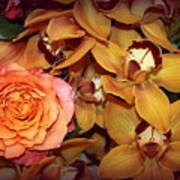 Pink Rose And Yellow Orchids Art Print