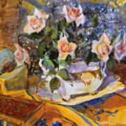 Pink Roses In Gaye's Dish Art Print