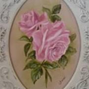 Pink Roses Oval Framed Art Print
