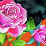 Pink Roses With Orange Art Print