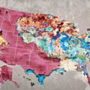 Pink Street Art Us Map Art Print