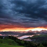 Pink Sunrise And Blue Clouds In The Mountains Of Kamnik Savinja  Art Print