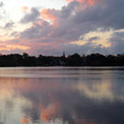 Pink Sunrise With Dramatic Clouds And Steeple On Jamaica Pond Art Print