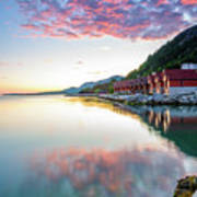 Pink Sunset Over A Lagoon In Norway Art Print