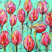 Pink Tulip, Turquoise Art Print