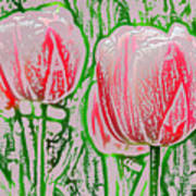 Pink Tulips With Block Effect Art Print