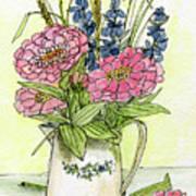 Pink Zinneas Art Print