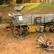 Pioneer Wagon And Broken Wheel Art Print