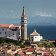 Piran Slovenia With St George's Cathedral Belfry And Baptistery  Art Print