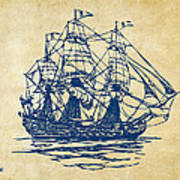 Pirate Ship Artwork - Vintage Art Print by Nikki Marie Smith