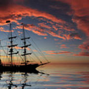 Pirate Ship At Sunset Art Print