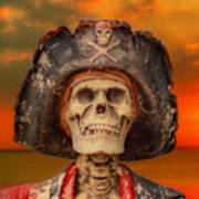 Pirate Skeleton Sunset Art Print by Randy Steele