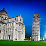 Pisa Cathedral With The Leaning Tower Of Pisa, Tuscany, Italy At Night Art Print