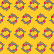 Pisces Zodiac Sign Pattern Art Print