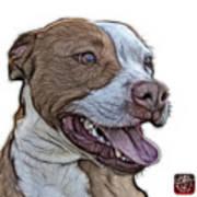 Pit Bull Fractal Pop Art - 7773 - F - Wb Art Print