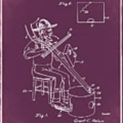 Pitch Fork Fiddle And Drum Patent 1936 - Red Art Print