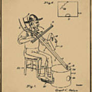 Pitch Fork Fiddle And Drum Patent 1936 - Sepia Art Print