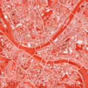 Pittsburgh Map Red Art Print
