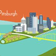 Pittsburgh Pennsylvania Horizontal Skyline - Orange Art Print