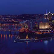 Pittsburgh Skyline At Night Christmas Time Art Print